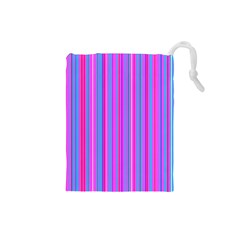 Blue And Pink Stripes Drawstring Pouches (small)