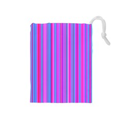 Blue And Pink Stripes Drawstring Pouches (medium)