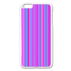 Blue And Pink Stripes Apple Iphone 6 Plus/6s Plus Enamel White Case