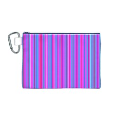 Blue And Pink Stripes Canvas Cosmetic Bag (M)