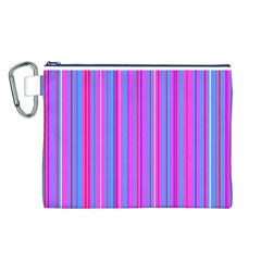 Blue And Pink Stripes Canvas Cosmetic Bag (L)