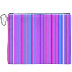 Blue And Pink Stripes Canvas Cosmetic Bag (xxxl)