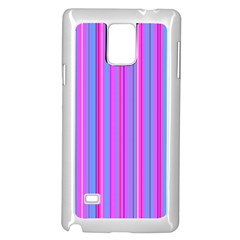 Blue And Pink Stripes Samsung Galaxy Note 4 Case (white)