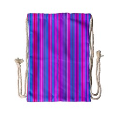 Blue And Pink Stripes Drawstring Bag (Small)