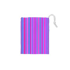 Blue And Pink Stripes Drawstring Pouches (XS)