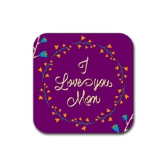 Happy Mothers Day Celebration I Love You Mom Rubber Square Coaster (4 Pack)
