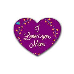 Happy Mothers Day Celebration I Love You Mom Rubber Coaster (heart)