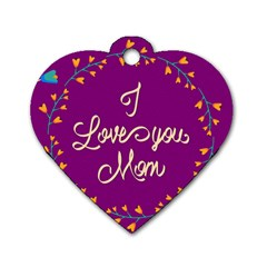 Happy Mothers Day Celebration I Love You Mom Dog Tag Heart (two Sides)