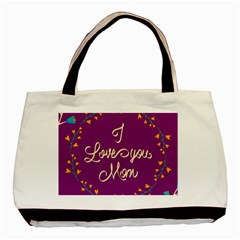 Happy Mothers Day Celebration I Love You Mom Basic Tote Bag (Two Sides)