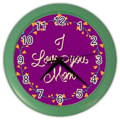Happy Mothers Day Celebration I Love You Mom Color Wall Clocks