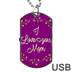 Happy Mothers Day Celebration I Love You Mom Dog Tag USB Flash (Two Sides)