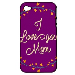 Happy Mothers Day Celebration I Love You Mom Apple iPhone 4/4S Hardshell Case (PC+Silicone)