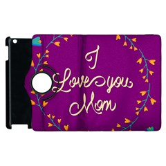 Happy Mothers Day Celebration I Love You Mom Apple iPad 2 Flip 360 Case