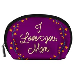 Happy Mothers Day Celebration I Love You Mom Accessory Pouches (large)