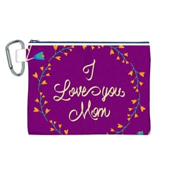 Happy Mothers Day Celebration I Love You Mom Canvas Cosmetic Bag (l)