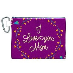 Happy Mothers Day Celebration I Love You Mom Canvas Cosmetic Bag (XL)