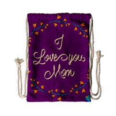 Happy Mothers Day Celebration I Love You Mom Drawstring Bag (small)