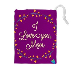Happy Mothers Day Celebration I Love You Mom Drawstring Pouches (Extra Large)