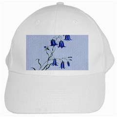 Floral Blue Bluebell Flowers Watercolor Painting White Cap