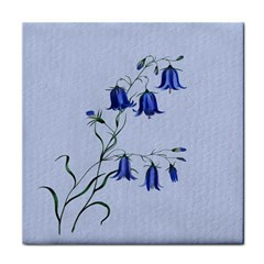 Floral Blue Bluebell Flowers Watercolor Painting Tile Coasters