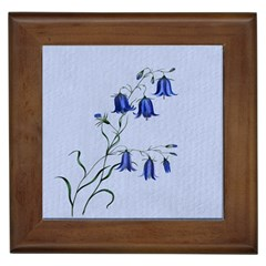 Floral Blue Bluebell Flowers Watercolor Painting Framed Tiles