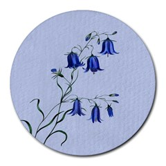 Floral Blue Bluebell Flowers Watercolor Painting Round Mousepads