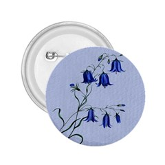 Floral Blue Bluebell Flowers Watercolor Painting 2.25  Buttons