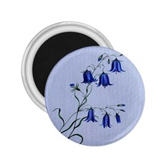 Floral Blue Bluebell Flowers Watercolor Painting 2.25  Magnets