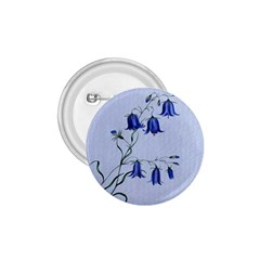 Floral Blue Bluebell Flowers Watercolor Painting 1.75  Buttons