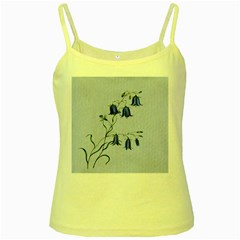 Floral Blue Bluebell Flowers Watercolor Painting Yellow Spaghetti Tank