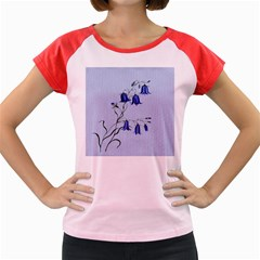 Floral Blue Bluebell Flowers Watercolor Painting Women s Cap Sleeve T Shirt