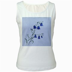Floral Blue Bluebell Flowers Watercolor Painting Women s White Tank Top