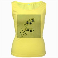 Floral Blue Bluebell Flowers Watercolor Painting Women s Yellow Tank Top