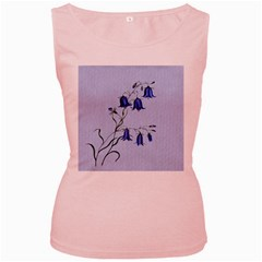 Floral Blue Bluebell Flowers Watercolor Painting Women s Pink Tank Top
