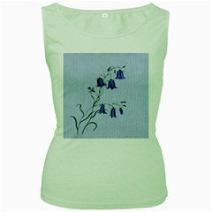 Floral Blue Bluebell Flowers Watercolor Painting Women s Green Tank Top