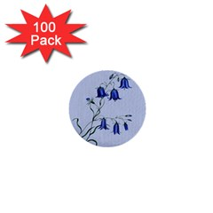 Floral Blue Bluebell Flowers Watercolor Painting 1  Mini Buttons (100 pack)