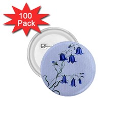 Floral Blue Bluebell Flowers Watercolor Painting 1 75  Buttons (100 Pack)