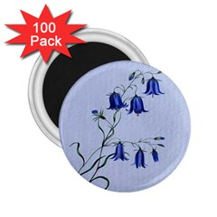 Floral Blue Bluebell Flowers Watercolor Painting 2.25  Magnets (100 pack)