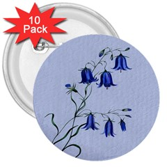 Floral Blue Bluebell Flowers Watercolor Painting 3  Buttons (10 Pack)