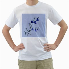 Floral Blue Bluebell Flowers Watercolor Painting Men s T-Shirt (White) (Two Sided)