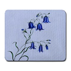 Floral Blue Bluebell Flowers Watercolor Painting Large Mousepads