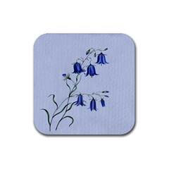 Floral Blue Bluebell Flowers Watercolor Painting Rubber Square Coaster (4 Pack)