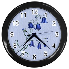 Floral Blue Bluebell Flowers Watercolor Painting Wall Clocks (black)