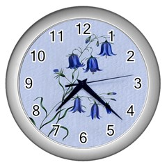 Floral Blue Bluebell Flowers Watercolor Painting Wall Clocks (silver)