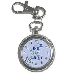 Floral Blue Bluebell Flowers Watercolor Painting Key Chain Watches