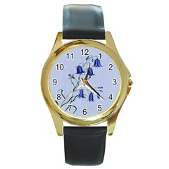 Floral Blue Bluebell Flowers Watercolor Painting Round Gold Metal Watch