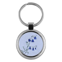 Floral Blue Bluebell Flowers Watercolor Painting Key Chains (round)