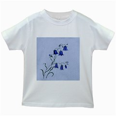 Floral Blue Bluebell Flowers Watercolor Painting Kids White T-Shirts
