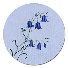 Floral Blue Bluebell Flowers Watercolor Painting Magnet 5  (Round)