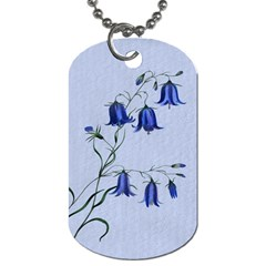 Floral Blue Bluebell Flowers Watercolor Painting Dog Tag (One Side)
